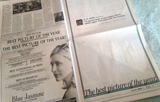 Who Owns Your Feed? Film Reviewer's Tweet Becomes Full-Page NY Times Ad