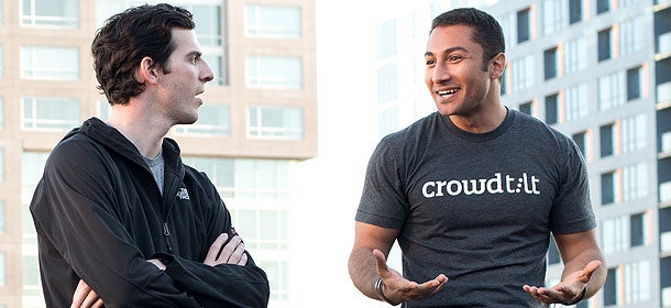 Daily bread: James Beshara (left) and Khaled Hussein make crowdfunding routine.