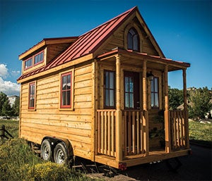 The fully constructed Elm 18, with queen-size sleeping loft, sells for $57,000.