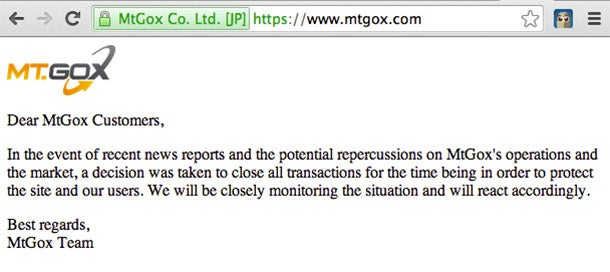 Mt. Gox Breaks Silence With Vague Statement, Confirms Transaction Freeze