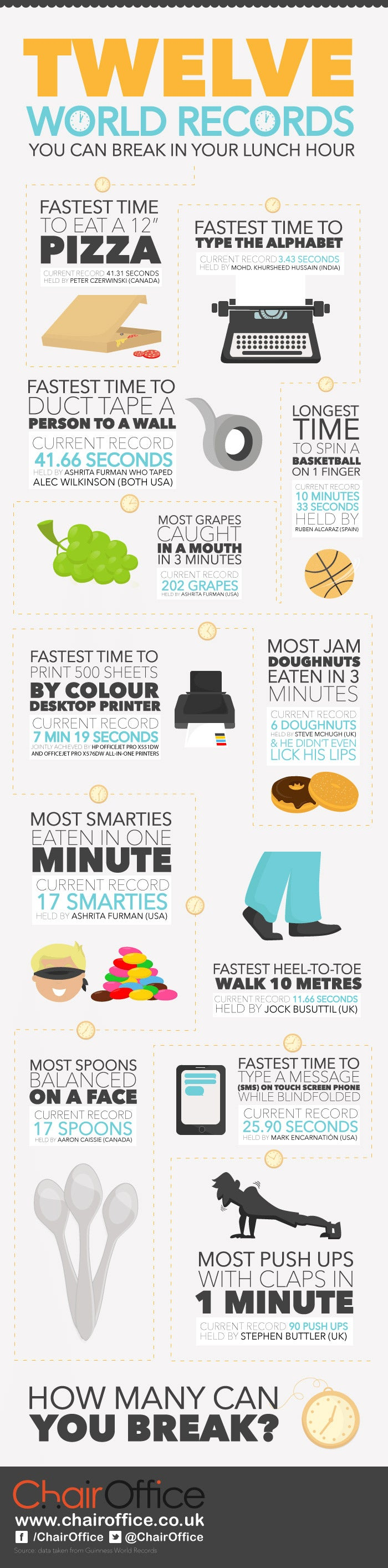 12 World Records You Can Break During Your Lunch Break (Infographic)