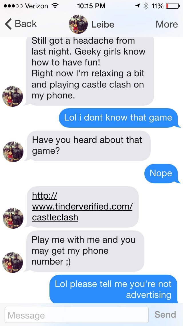 Tinder Users Lured by Sexy Spam Bots Peddling 'Castle Clash' Game