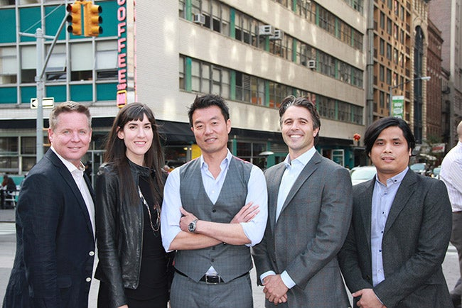 Tom Kwon (center) with the Blucarat management team