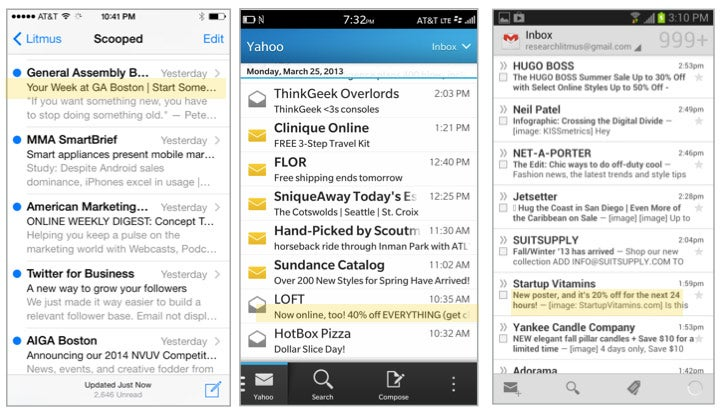 this image shows the differences between inboxes of iOS, Blackberry, and Android