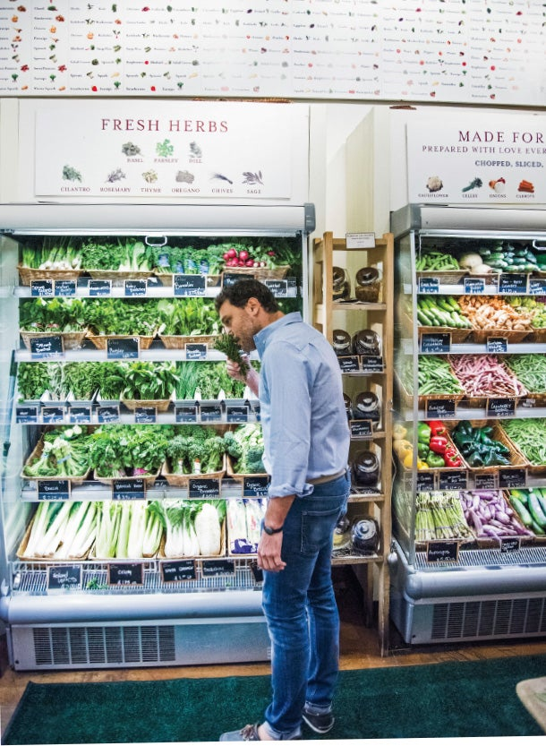 Getting fresh: Nicola Farinetti in Eataly NYC's produce section.