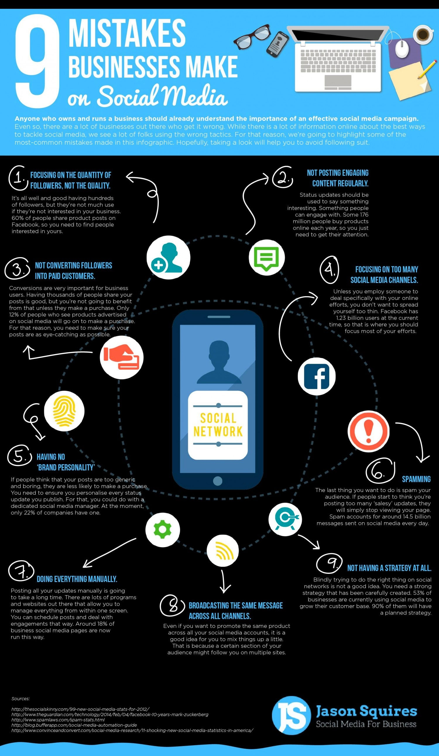 9 Mistakes Businesses Make on Social Media (Infographic)