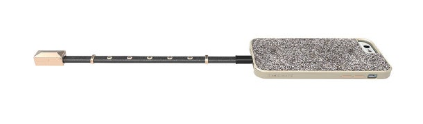 Rebecca Minkoff's bracelet for Case-Mate connects to a USB cable to sync and charge mobile devices.