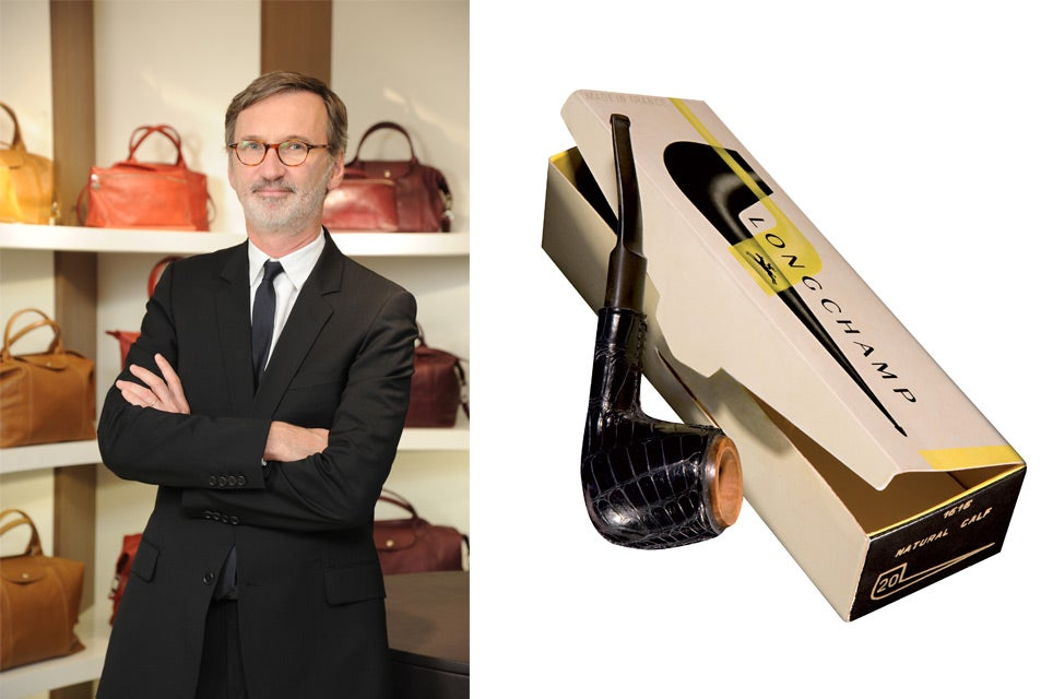 Longchamp CEO Jean Cassegrain and one of the company's original, leather-clad tobacco pipes