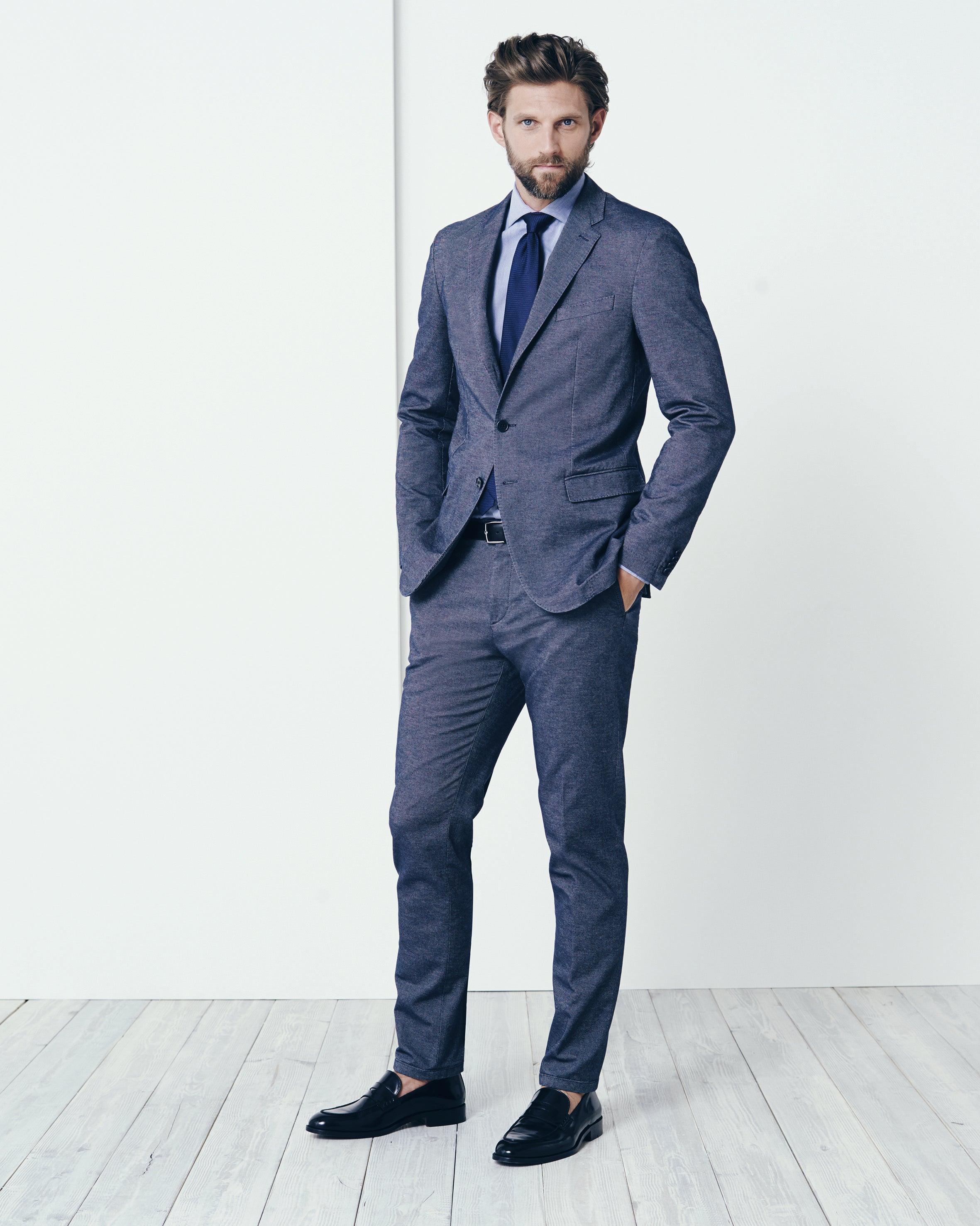 Silk blue suit dress yy for Blue suit grey shirt
