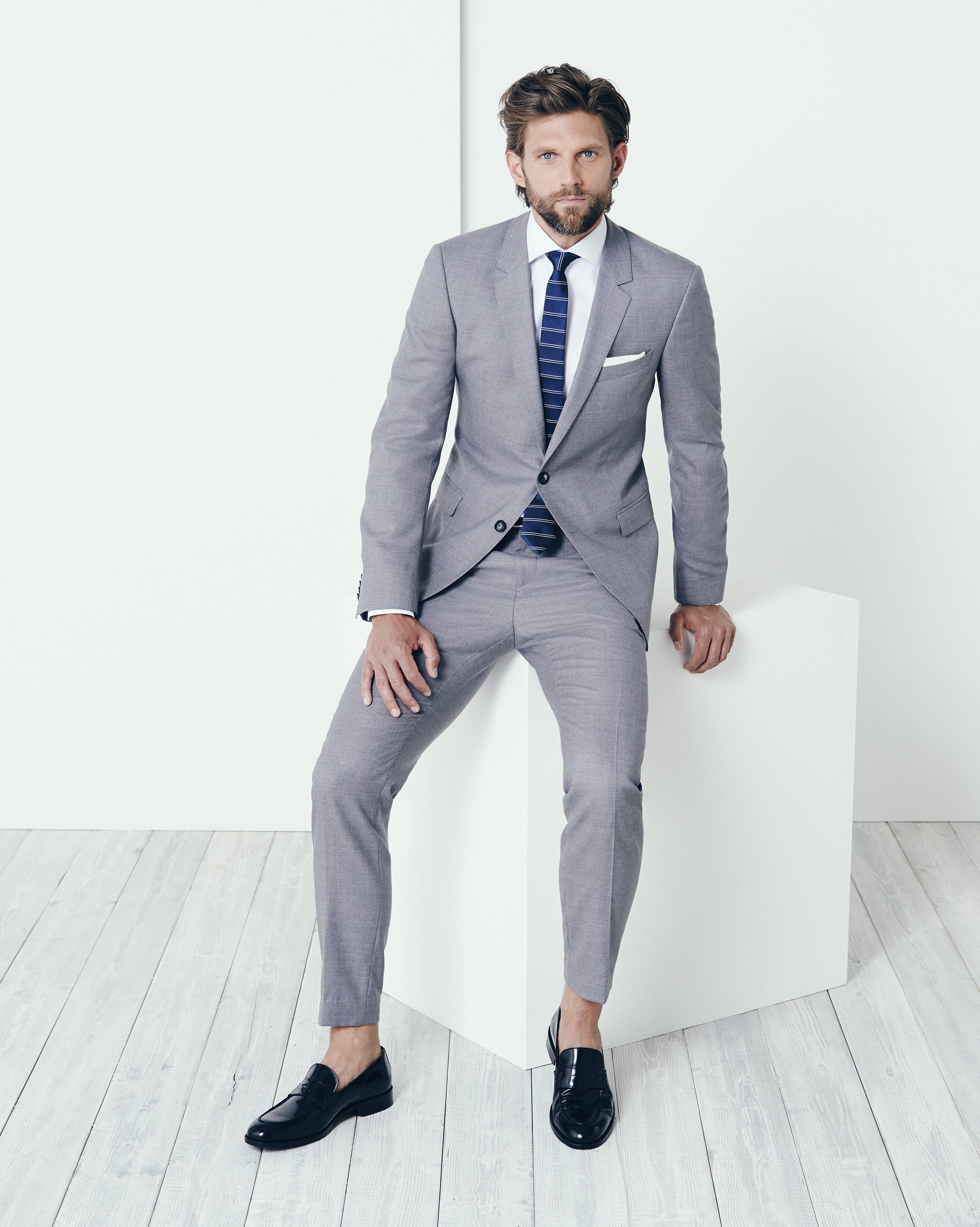 Blue Grey Suit Dress Yy
