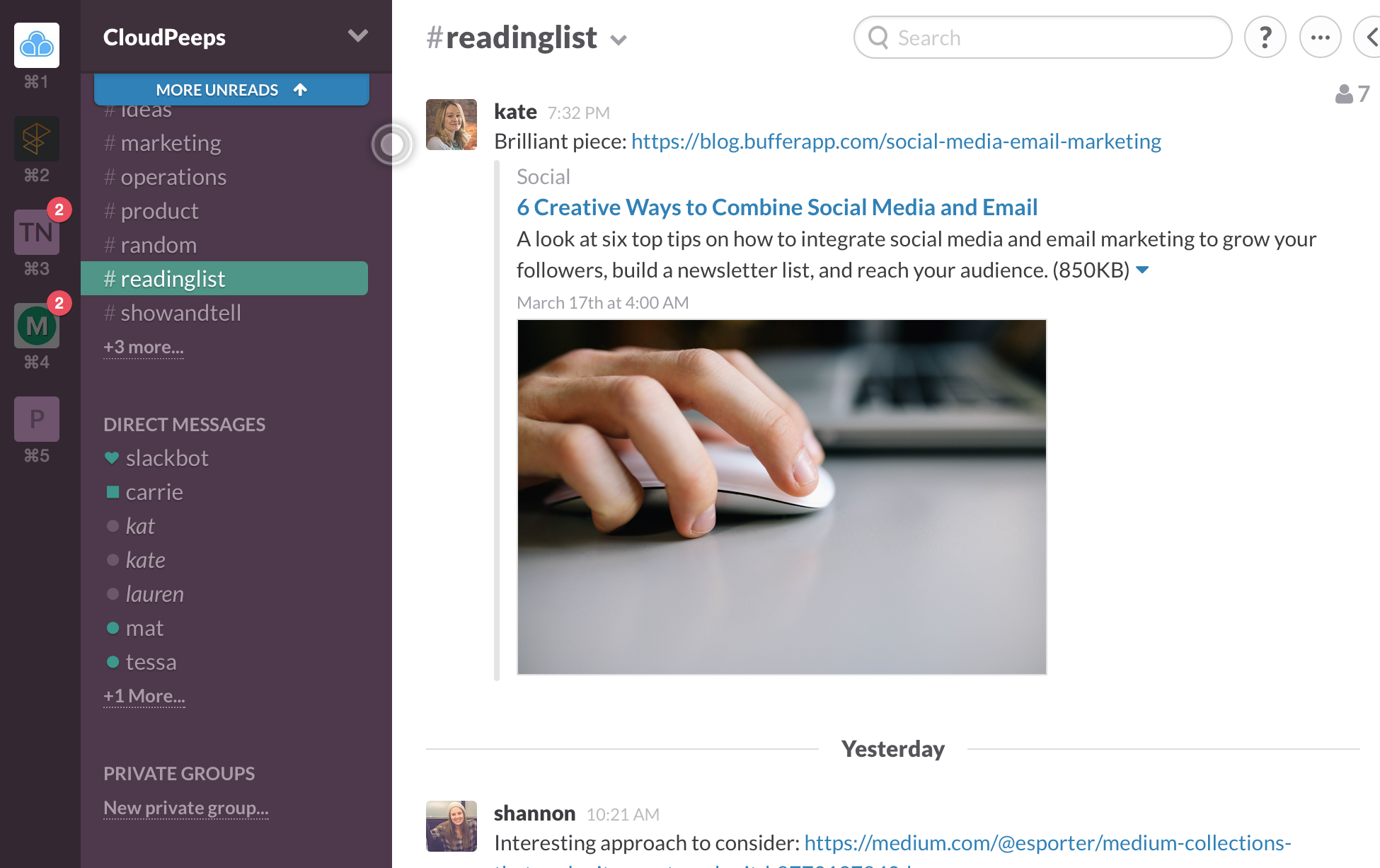 reading list channel on Slack
