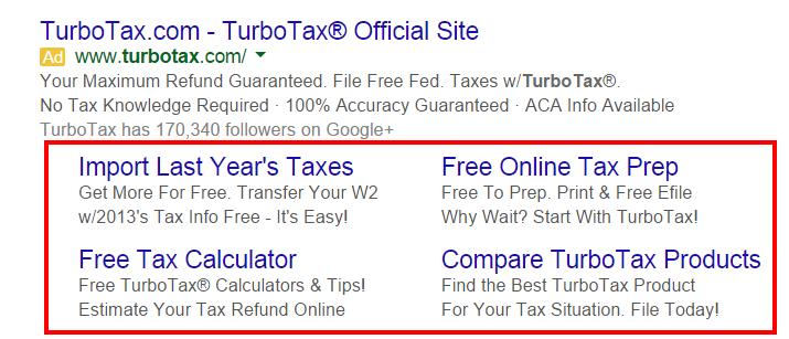 turbotax-adwords-ad-sitelink-extensions