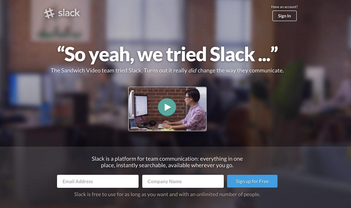 slack home page revision