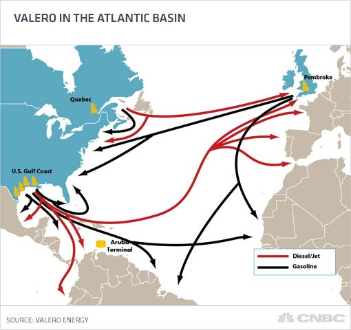 Valero in the Atlantic basin