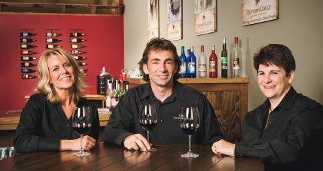 Team Vino: Jennifer Alviani, left, David Schmeltzle, and Robin Raible of Vintner's circle.