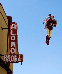 Up in the air: A jet-packer takes flight at a pre-screening of Iron Man at Alamo Drafthouse South Lamar.