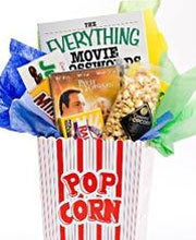 Basket O'Books' Movie Night gift basket contains a DVD, movie crosswords book and other treats.