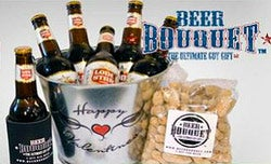 The Valentine's Day-themed beer bouquet comes with six beers, a koozie, a bag of peanuts and a bottle opener.
