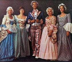Rubie's 1976 bicentennial collection. Marc Beige (middle) is modeling an Uncle Sam outfit.