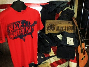 Patriotic: U.S. clothier Black & Denim touts its roots on every label.