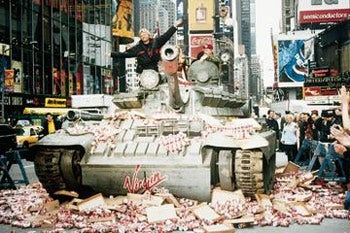 Richard Branson drives a tank through Times Square in 1998 to herald the U.S. launch of Virgin Cola, which later fizzed.