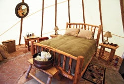 Pepper Fewel's cherry wood bed, breakfast and barn expanded from a farmhouse to luxury teepees.