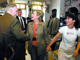 Hillary Clinton with June Joplin, the owner of Comma Coffee in Carson City, Nev.