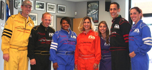 Employees at Arlington, Va.-based Decision Lens gear up for a day of competitive go-kart racing.
