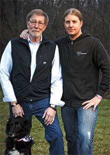 Dogged determination: Edward Wimmer (right) and his father, Mike, have seen rapid sales of Road ID.