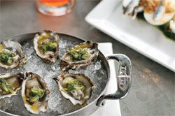 The restaurant's local oysters