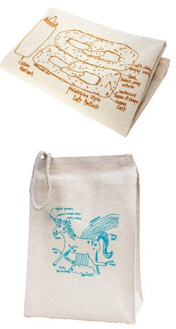 A Girls Can Tell tea towel and lunch bag (below).