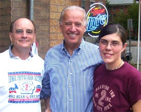 Hamburg Inn owner Dave Panther (left) the restaurant's general manager and Joe Biden.