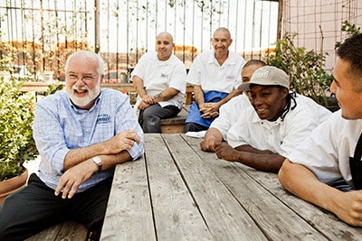 Father Boyle and homies at Homeboy Bakery