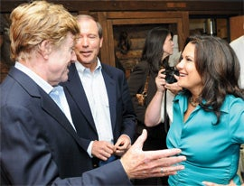 Meet and greet: Jill Hanauer at a 2009 Project New West Summit with Robert Redford (far left).