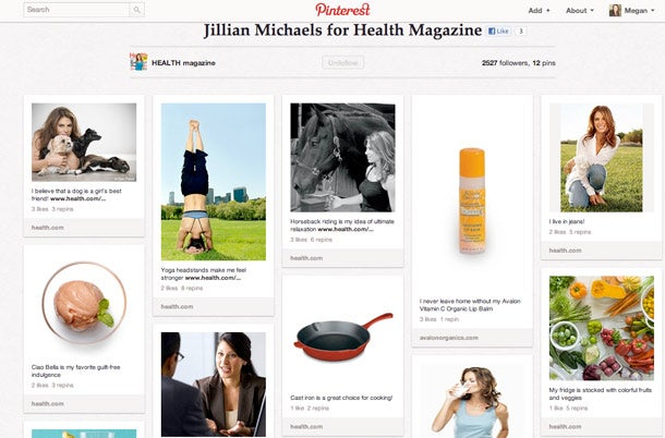 Health magazine's pin board with personal trainer Jillian Michaels.