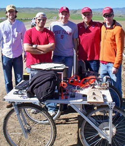 Stanford students Morgan Quigley, Fred Ford, Joe Bingold, Jorge Heraud and Lee Redden (left to right) with the Carrotbot