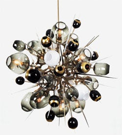 "The real deal: designer Lindsey Adelman's original ""Boom Boom Burst"" light fixture."