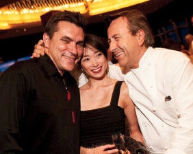 Dishing: Luckyrice's Danielle Chang at Grand Feast with participating chefs Todd English (left) and Daniel Boulud.