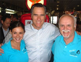 On a recent visit to MaryAnn's Diner in Derry, N.H., Mitt Romney stands with restaurant owner William Andreoli and his daughter.