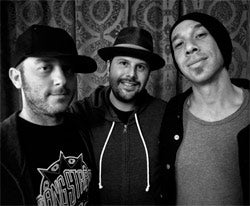The Roxy's Nic Adler (center) with DJ Adam 12 and Justin Warfield of alt-rock band She Wants Revenge