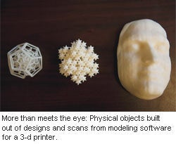 More than meets the eye: Physical objects built out of designs and scans from modeling software for a 3-d printer.