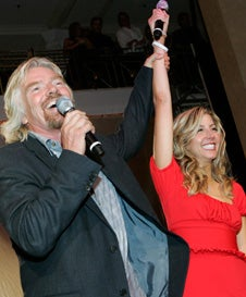Sara Blakely with Virgin Group founder Richard Branson at the 'Give A Damn' party to launch the Sara Blakely Foundation.