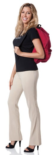 Spanx founder Sara Blakely with her lucky red backpack, which served as the presentation bag when pitching her body-slimming undergarments to retailers.