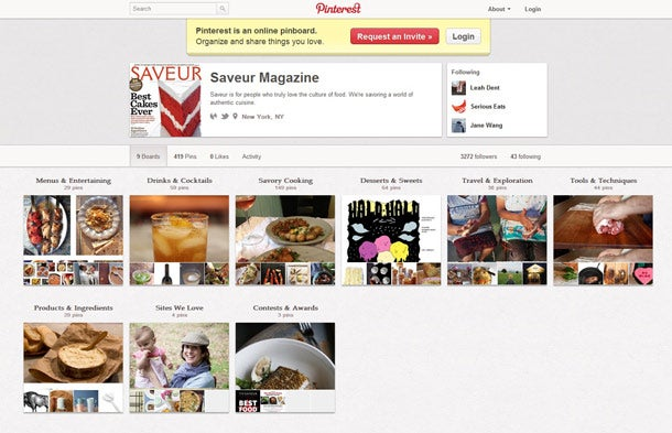 When pinning to Pinterest, Saveur editors select images that 'tell a story.'
