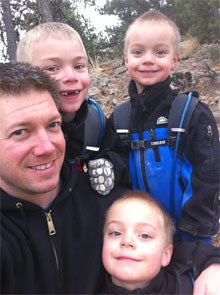 DadGear Co-founder Scott Shoemaker and sons, Carson 8, and twins Sam and Brady, 5.