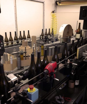The bottling operation at Standing Sun Wines