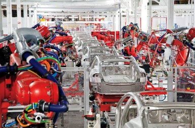 Assembled at home: The Tesla Motors factory in Fremont, Calif.