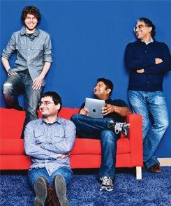 Clockwise from right: Peter Relan, Rajat Gupta, Suren Markosian and Jason Citron