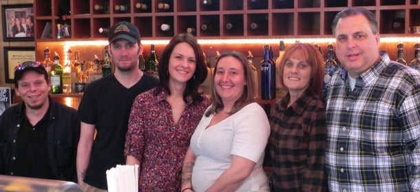 Staff at The Trailside: Chef Frank Sommerfield, Chef Nick Moore, Bartender Laura Rice, Server Michele Mignerey, Pub Manager Karen Potts, and Owner Rod Darby (from left to right).