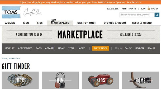 TOMS Creates E-Commerce Hub for Socially Conscious Shoppers